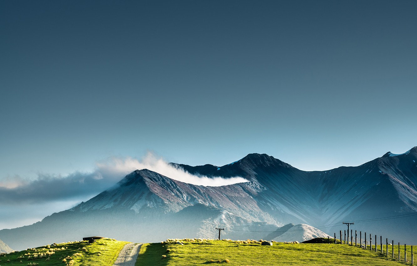 Photo wallpaper road, the sky, clouds, nature, posts, New Zealand