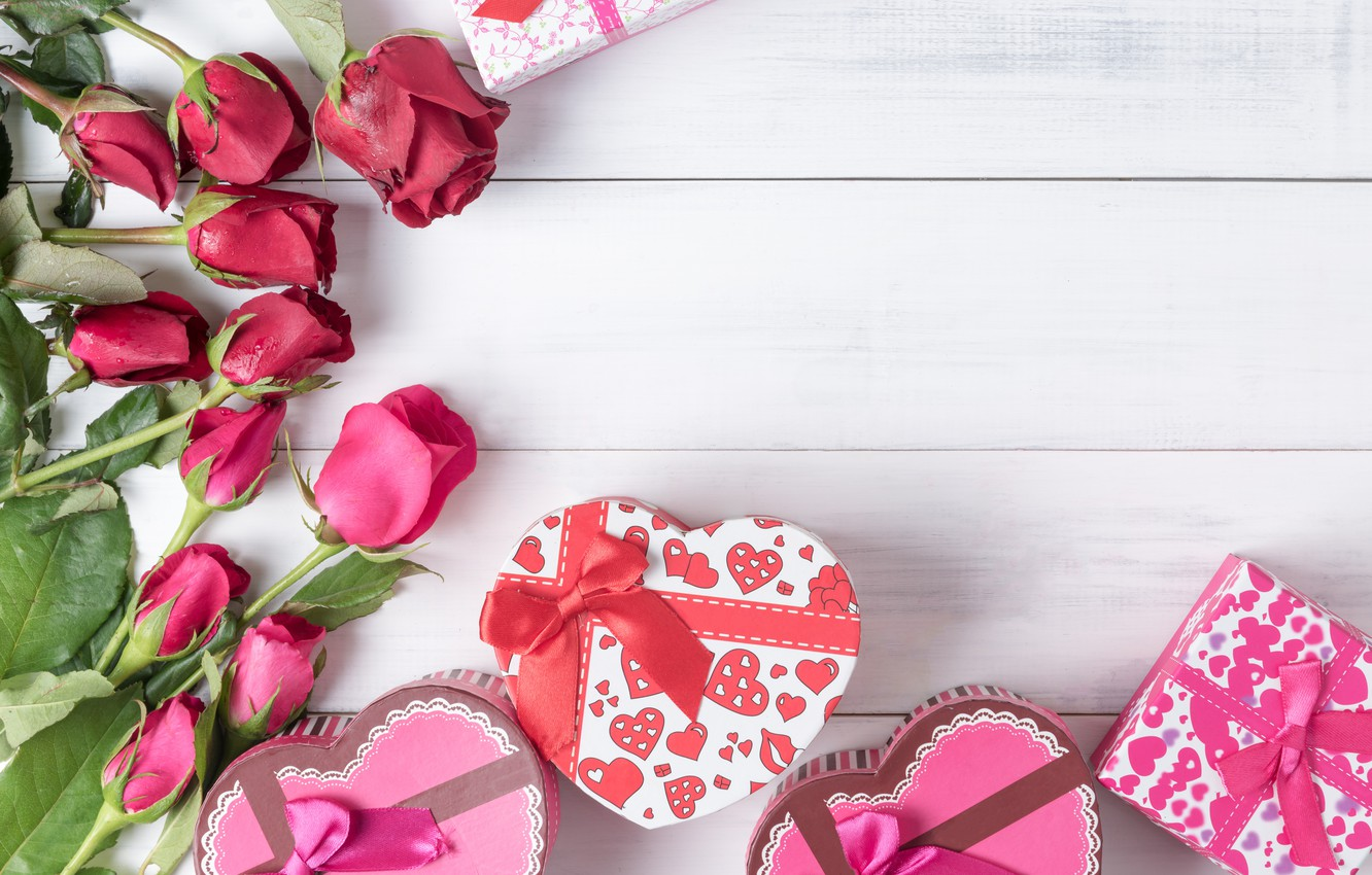 Photo wallpaper love, flowers, heart, roses, gifts, red, red, love, bow, box, heart, wood, flowers, romantic, valentine's …