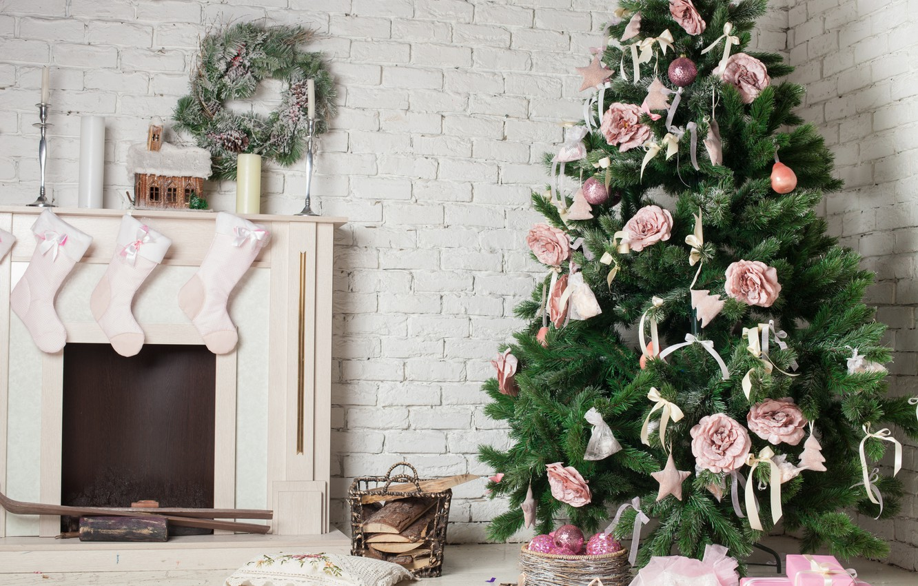 Photo wallpaper decoration, holiday, tree, candles, New year, fireplace