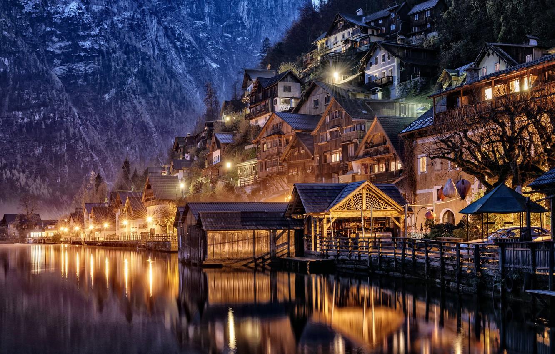 Обои tree, water, mountain, austria, hallstatt, light. Города foto 7