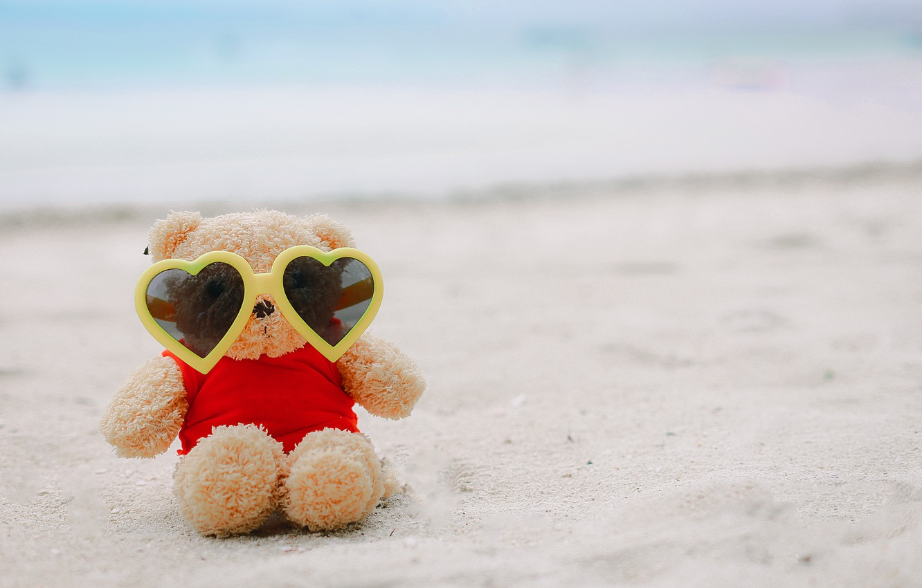 Photo wallpaper sand, sea, beach, summer, love, stay, toy, glasses, bear, summer, love, beach, vacation, bear, sea, …