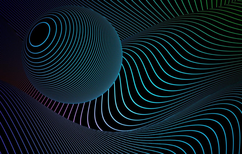 Photo wallpaper line, abstraction, ball, art