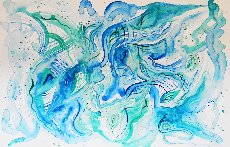 Photo wallpaper blue, oil, pastel, green, markers, gouache, Watercolor, acrylic, gel, Lena Horn