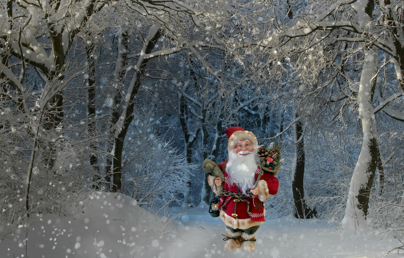 Photo wallpaper winter, forest, snow, trees, holiday, branch, toy, new year, Christmas, tale, lantern, gifts, Santa Claus, …