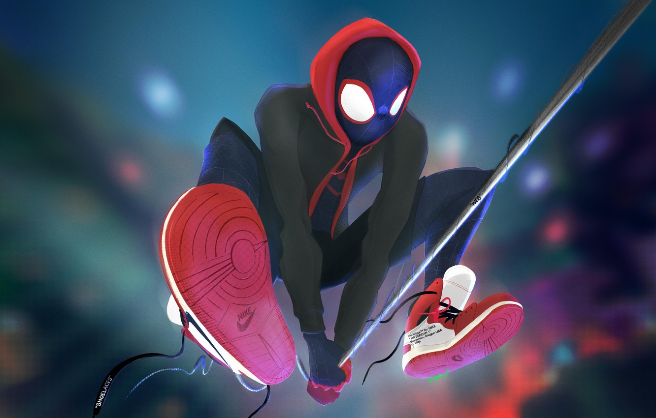 Photo wallpaper Figure, Web, Costume, Hero, Mask, Hood, Superhero, Hero, Art, Art, Web, Fiction, Marvel, Sneakers, Spider-man, …