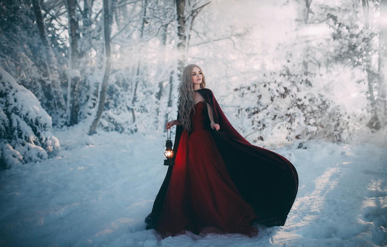 Photo wallpaper girl, snow, dress, lantern, Bird Man