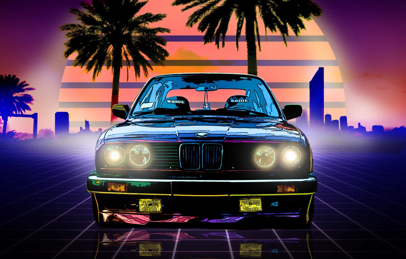 Photo wallpaper The sun, Music, Neon, BMW, Machine, Boomer, Palm trees, Background, Lights, Electronic, BMW M3, The …