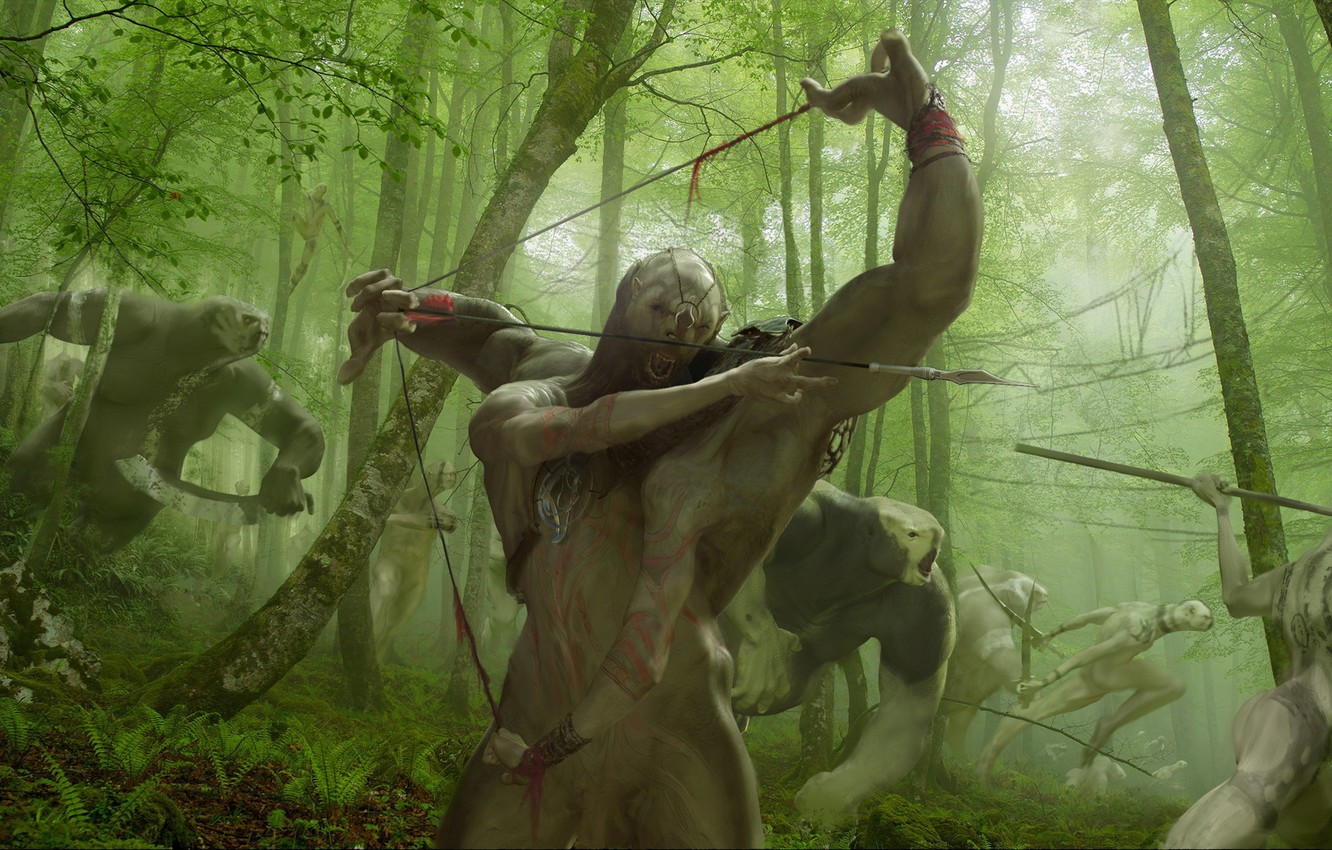 Photo wallpaper forest, creatures, hunting, monster, Crossbreed