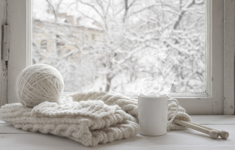 Photo wallpaper winter, snow, wool, scarf, window, Cup, hot, winter, snow, cup, window, mug
