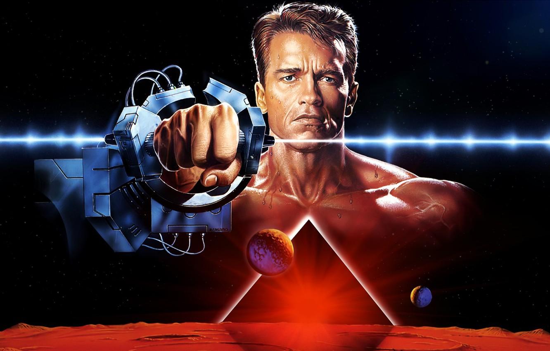 Photo wallpaper cinema, actor, classic, movie, film, Mars, 1990, Arnold Schwarzenegger, Total Recall, the best, builder, 2084, …