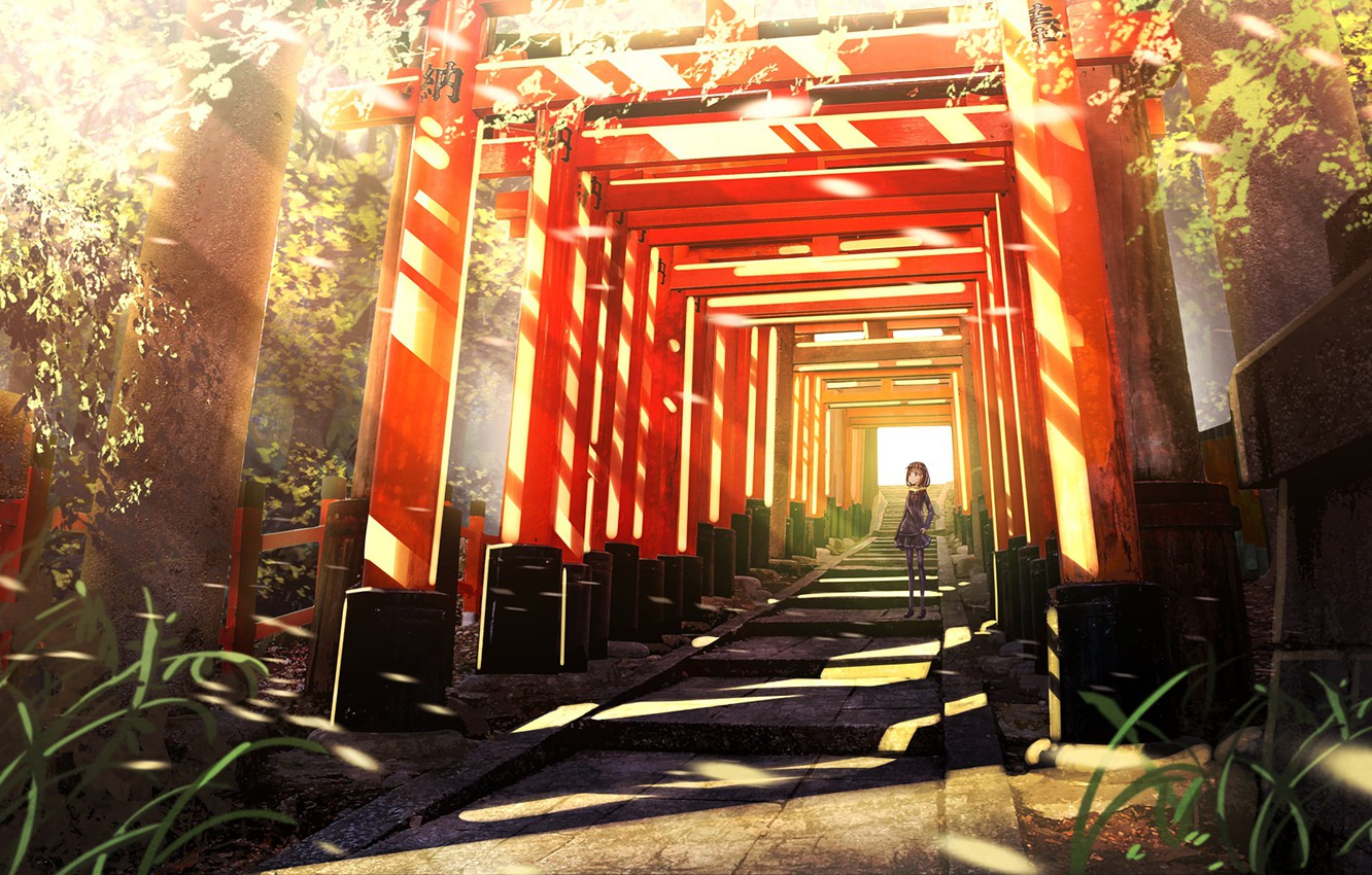 Photo wallpaper anime, art, corridor, girl