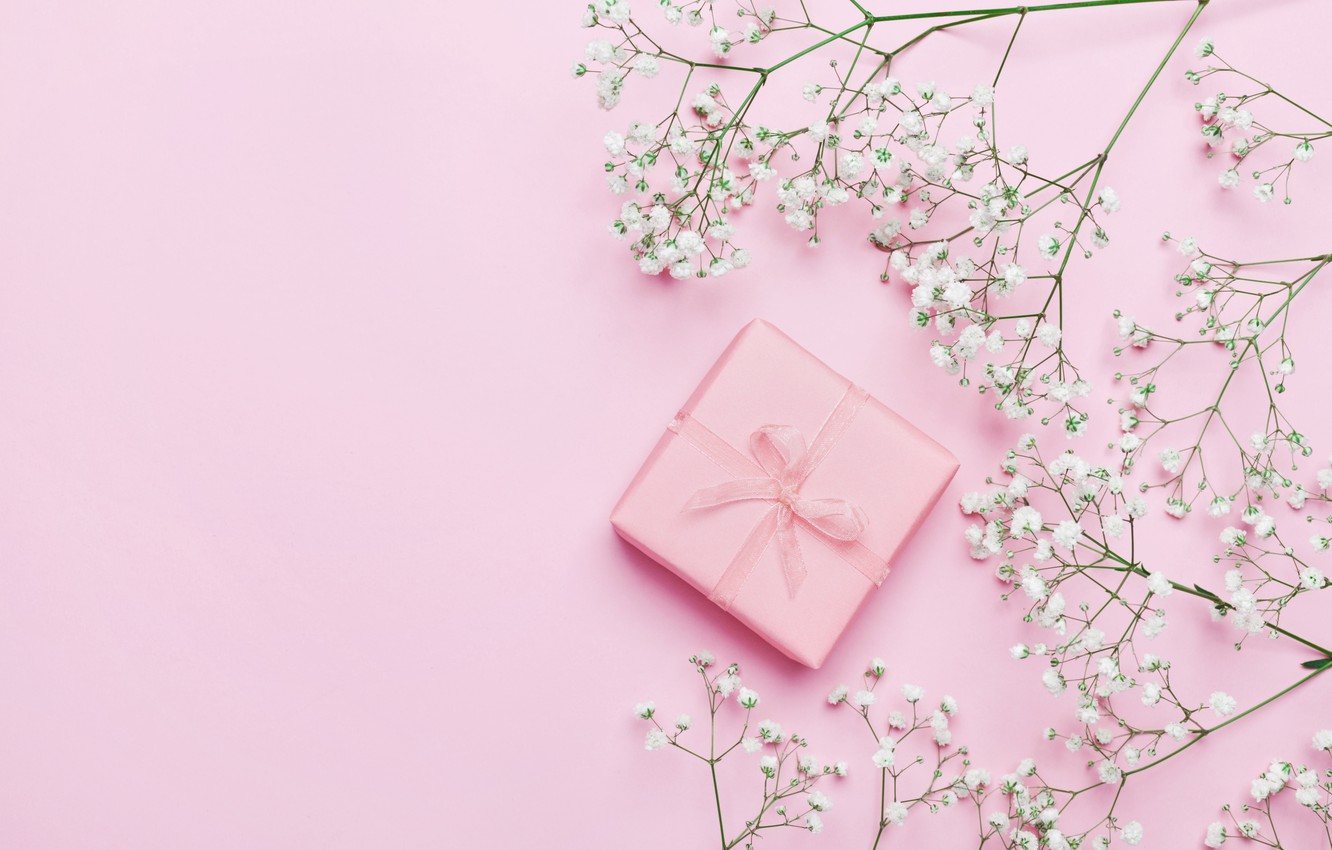 Photo wallpaper flowers, background, gift, pink, pink, flowers, beautiful, romantic, present, gift, tender