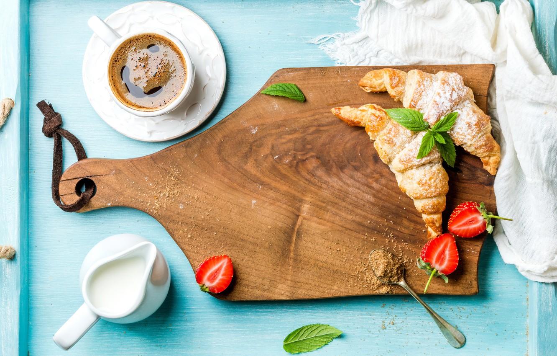 Photo wallpaper berries, coffee, Breakfast, cream, strawberry, coffee cup, strawberry, breakfast, croissant, growing