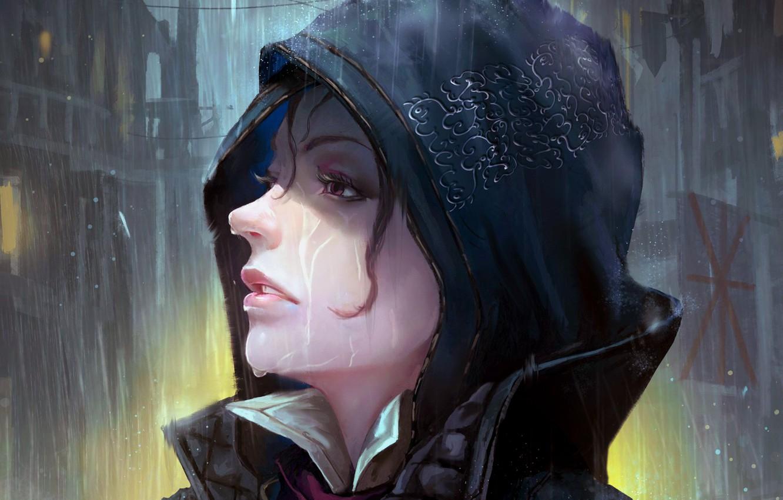 Photo wallpaper girl, fantasy, game, wet, rain, purple eyes, face, Assasin's Creed, digital art, artwork, fantasy art, …