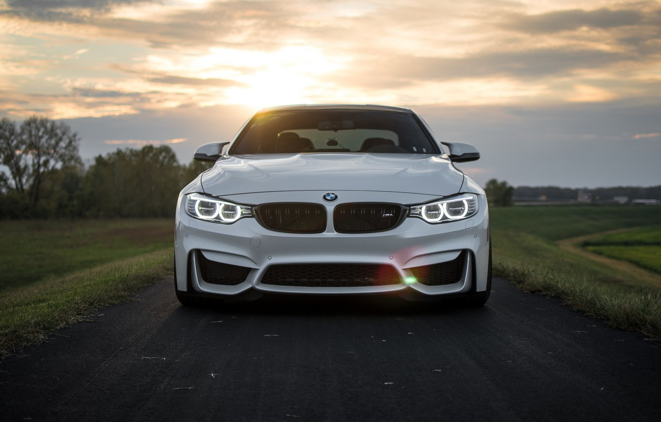 Photo wallpaper BMW, Clouds, Sky, Green, Sunset, White, LED, F83