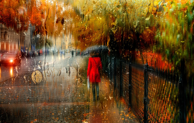 Photo wallpaper autumn, girl, the city, rain, Saint Petersburg, Russia