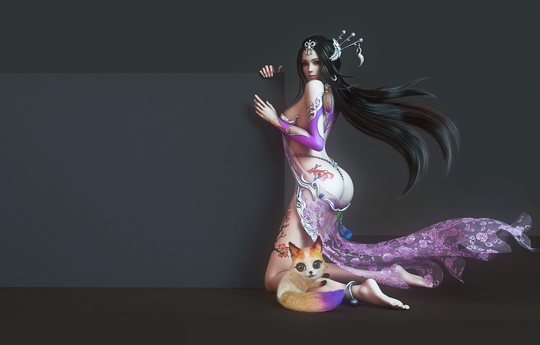 Photo wallpaper girl, fantasy, art, pet, yonglin yao, Mall girl