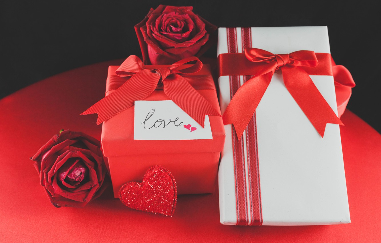Photo wallpaper red, love, romantic, hearts, valentine's day, gift, roses, red roses