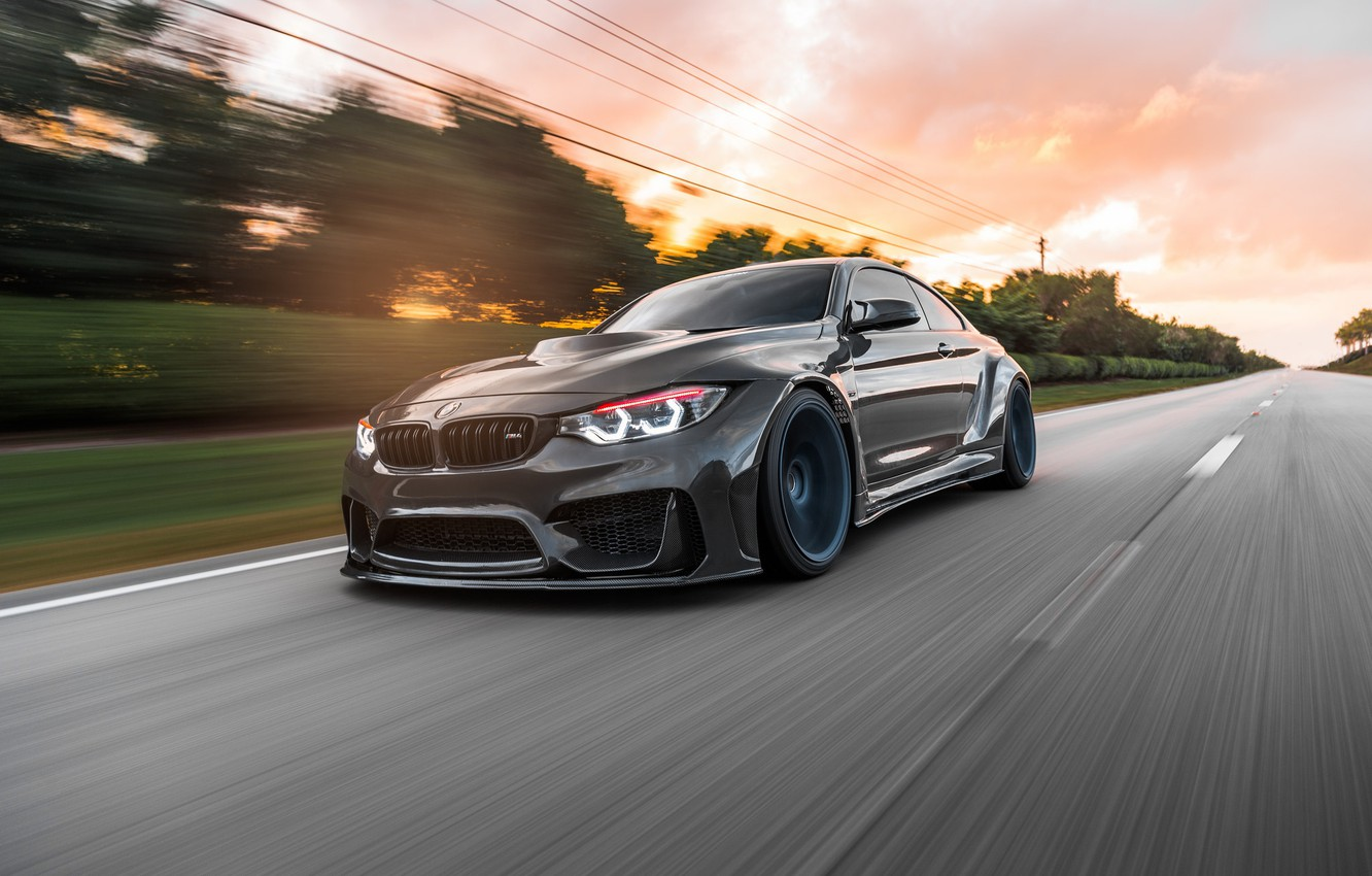 Photo wallpaper BMW, Sunset, Evening, F82, Dynamic, Sight, Graphite, LED
