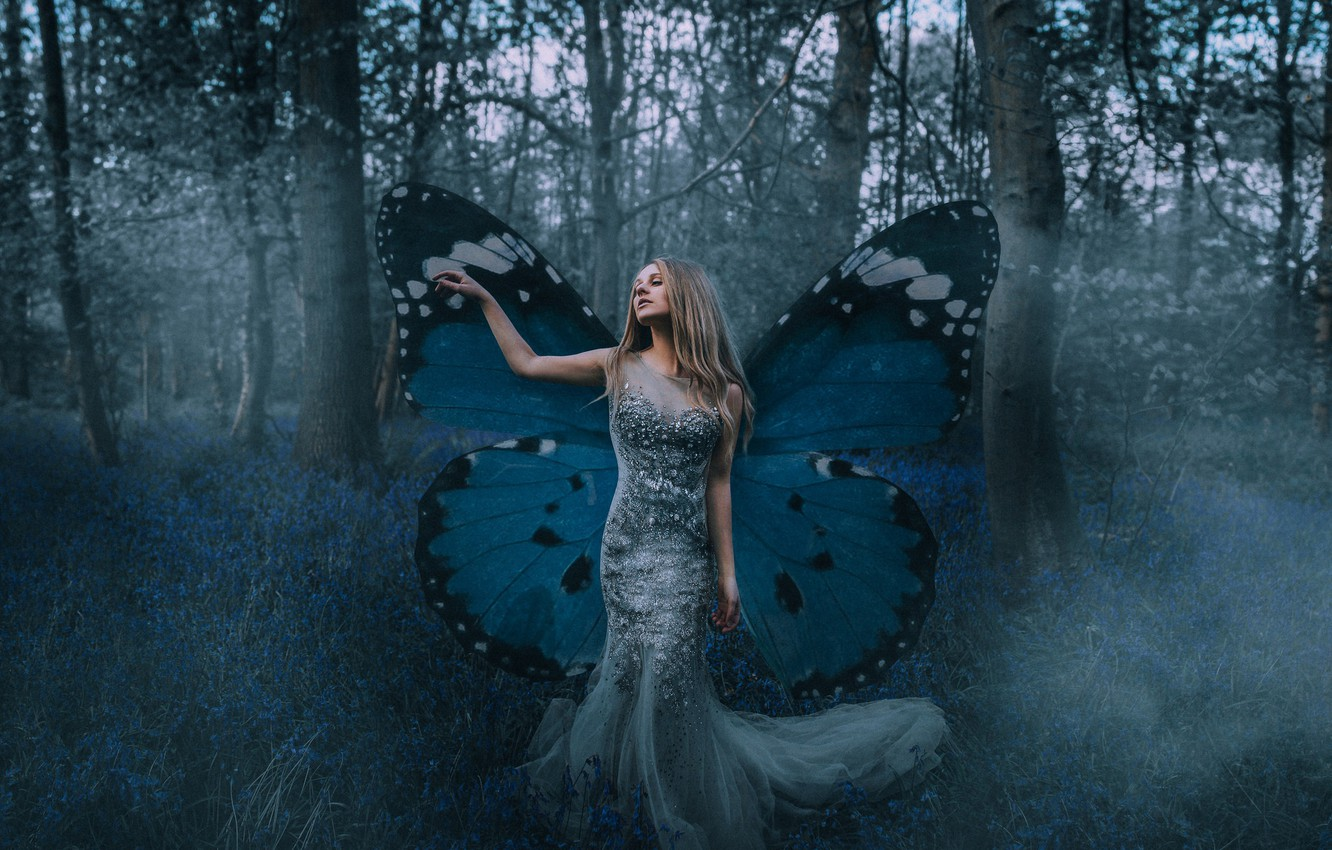 Photo wallpaper forest, girl, mood, butterfly, dress, wings