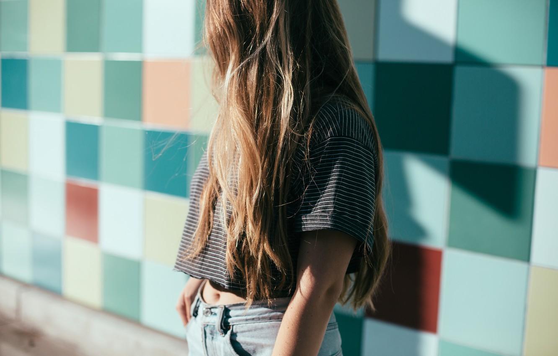 Photo wallpaper girl, brown hair, long hair