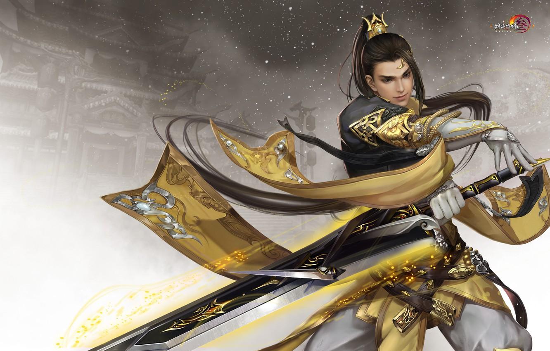 Photo wallpaper the game, sword, warrior, art, Twilight mountain fly bird °, Gian Vang, Tibetan sword