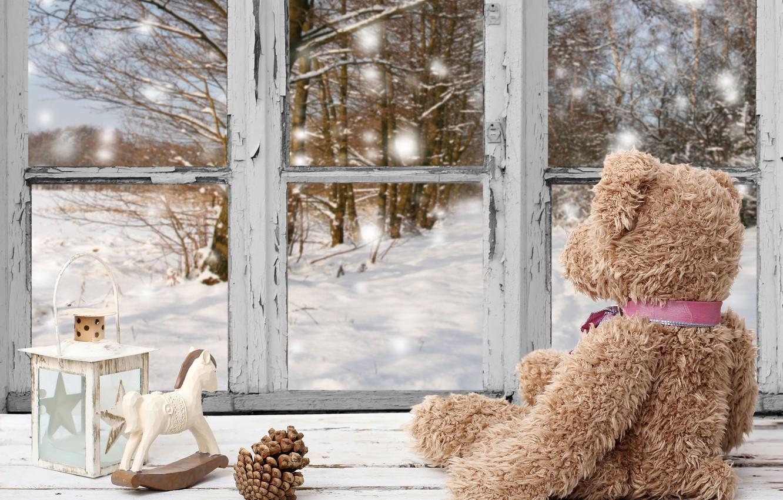 Photo wallpaper winter, snow, decoration, New Year, window, Christmas, bear, Christmas, winter, snow, window, Merry Christmas, Xmas, …