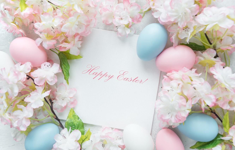 Photo wallpaper flowers, Easter, flowers, spring, Easter, eggs, Happy