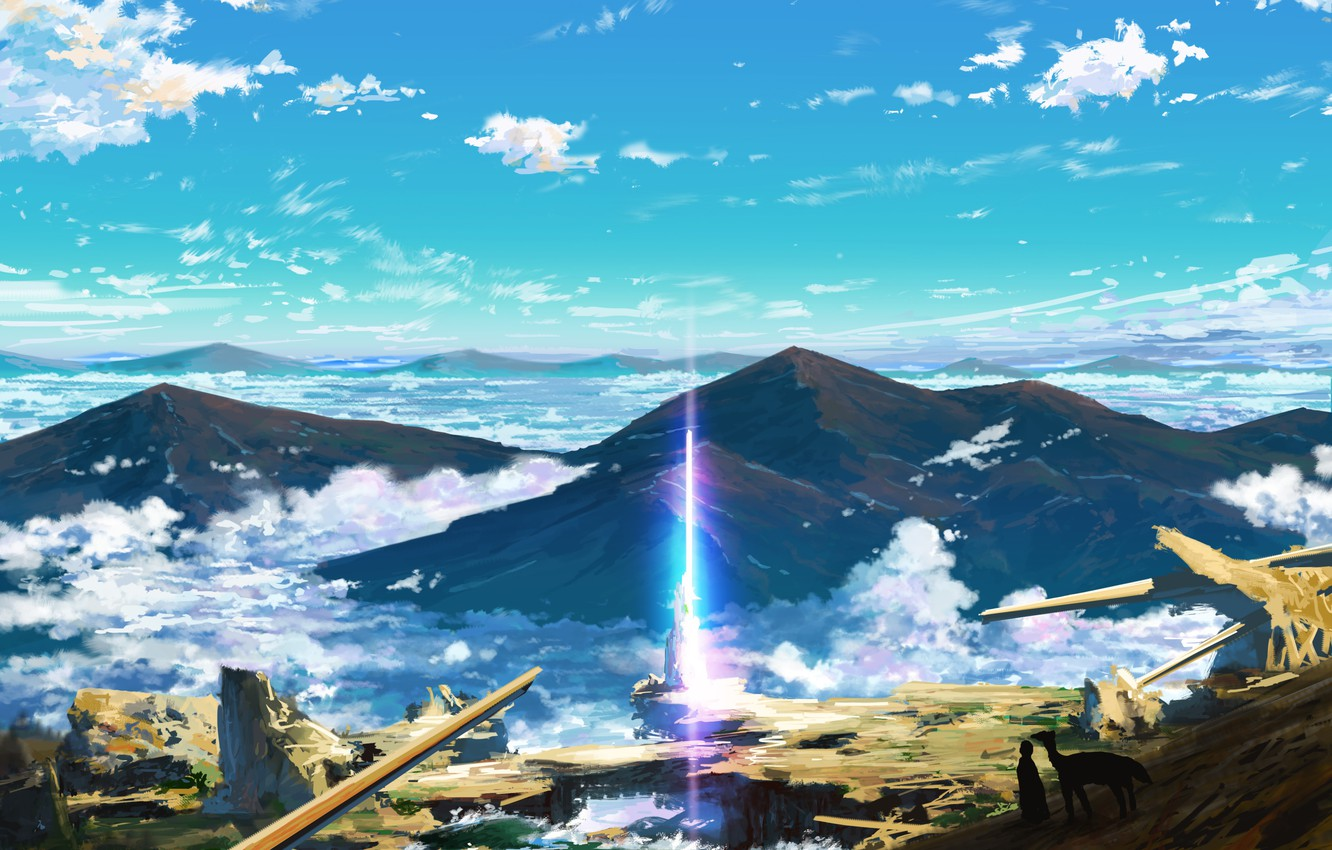 Photo wallpaper the sky, mountains, animal, people, silhouettes, a beam of light