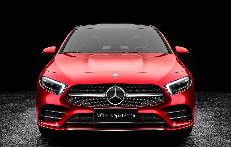 Photo wallpaper Mercedes-Benz, front view, Sedan, A-Class, 2019, A200, L Sport