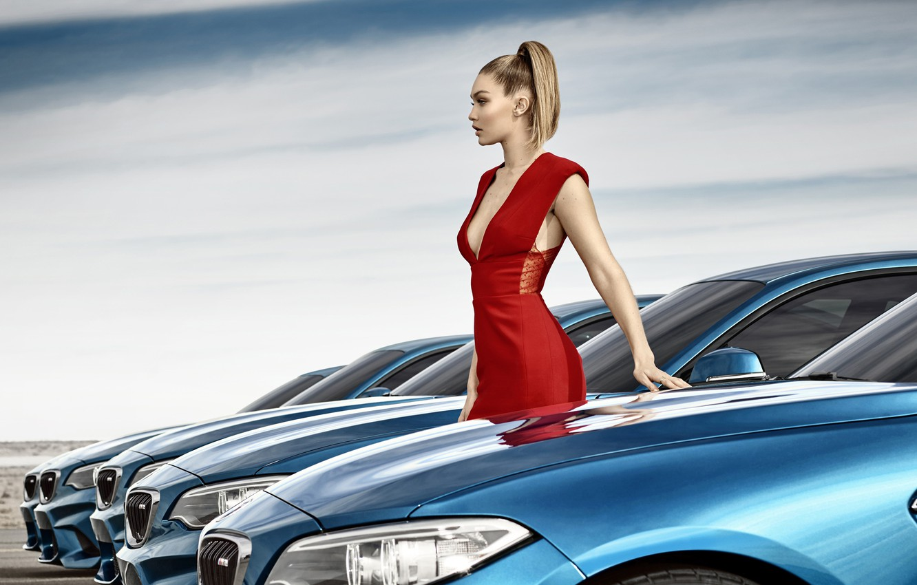 Photo wallpaper machine, model, makeup, BMW, figure, dress, hairstyle, blonde, beauty, in red, photoshoot, in a row, …