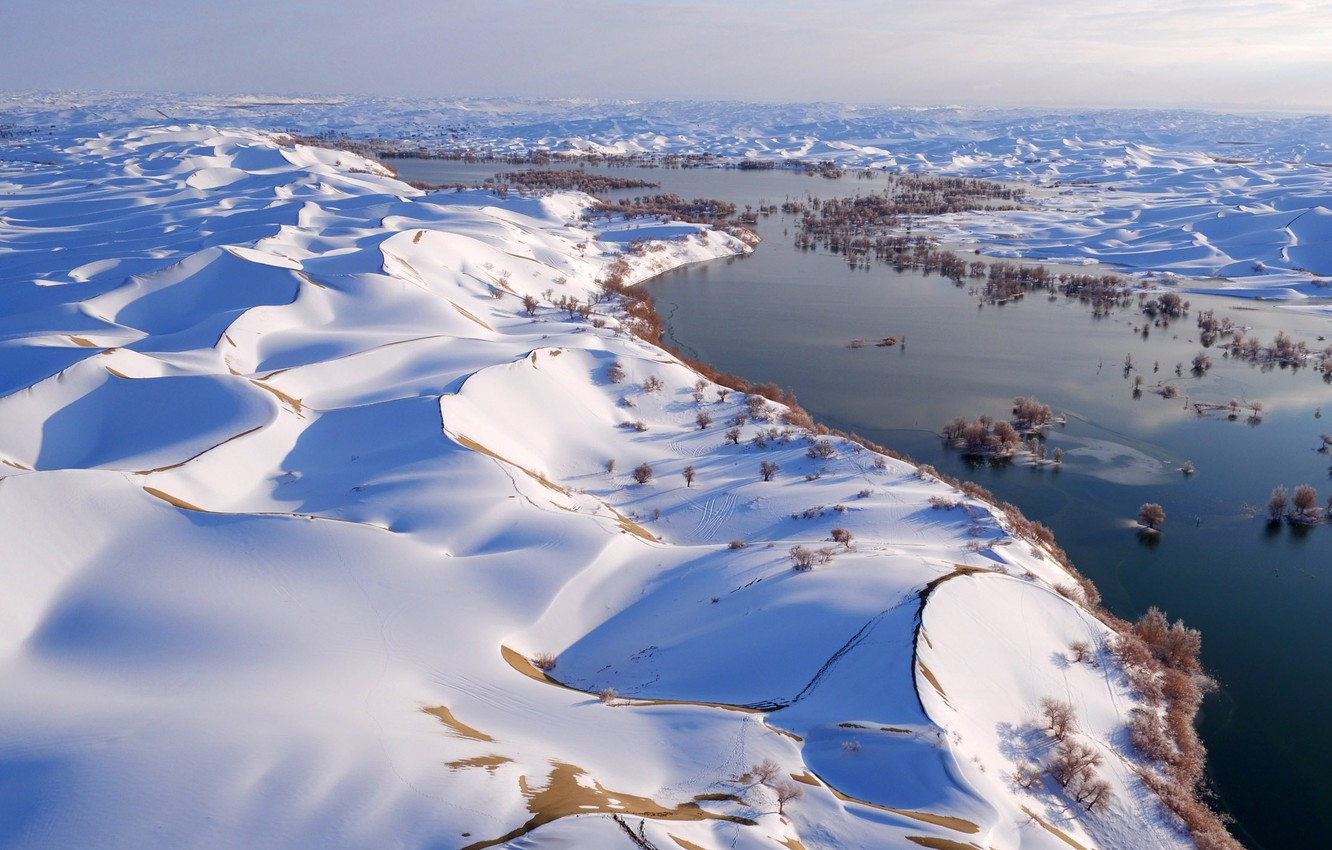 Photo wallpaper China, river, sky, trees, landscape, nature, water, winter, snow, dunes, snowy landscape