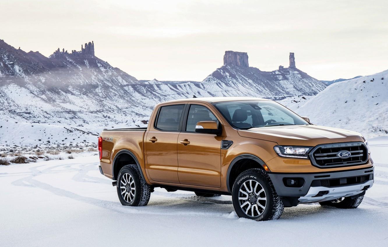 Photo wallpaper the sky, snow, mountains, vegetation, Ford, pickup, Ranger