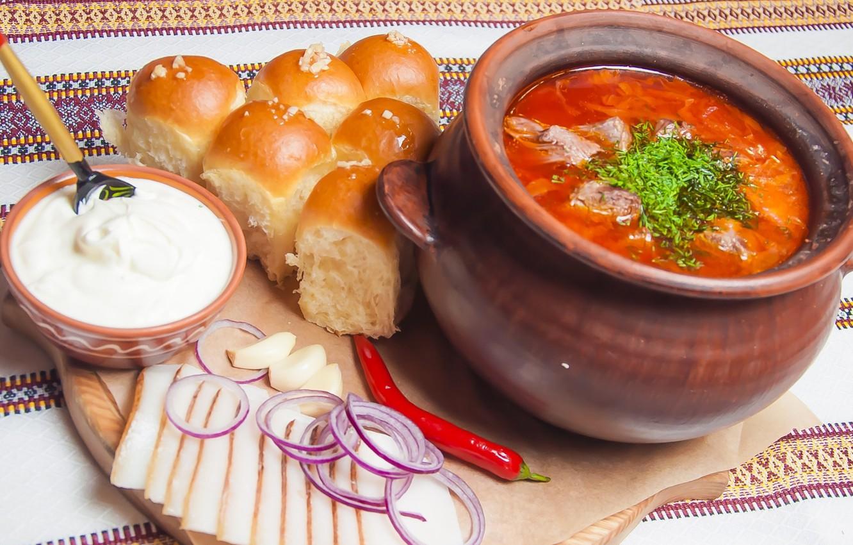 Photo wallpaper bow, soup, sour cream, dumplings