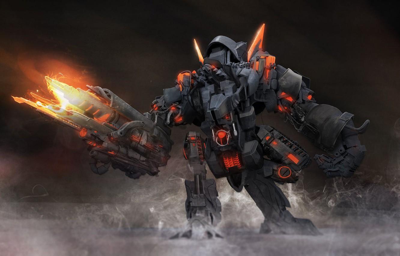 Photo wallpaper weapons, fiction, robot, transformer, warrior, art, armor, metal, art, destroy, destroyer