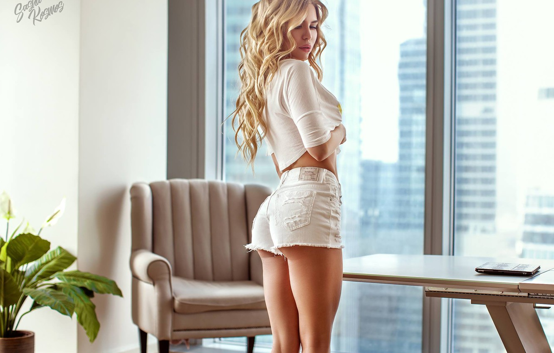 Photo wallpaper pose, shorts, figure, blonde, curls, Sasha Kosmos