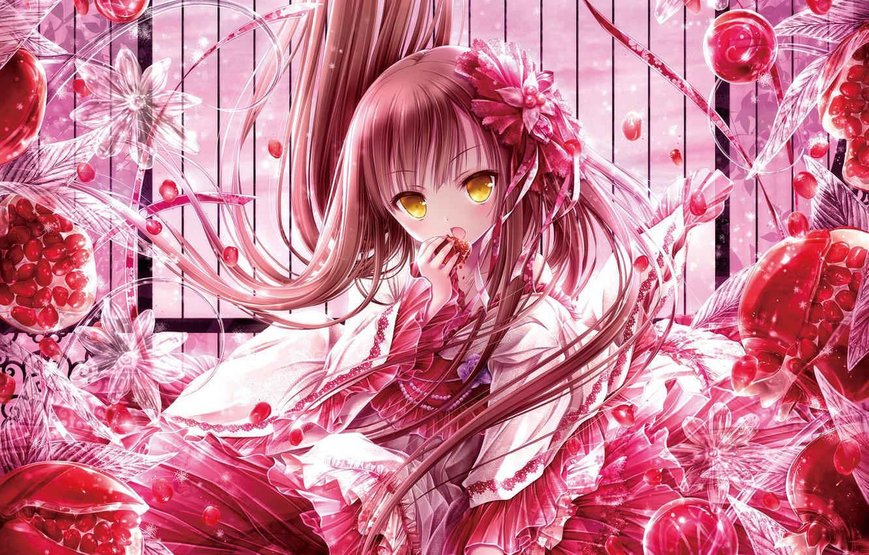 Photo wallpaper berries, anime, art, girl, garnet