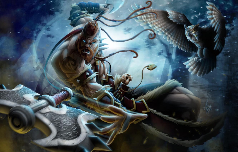 Wallpaper Anger Fiction Owl Warrior Beard Axe Art