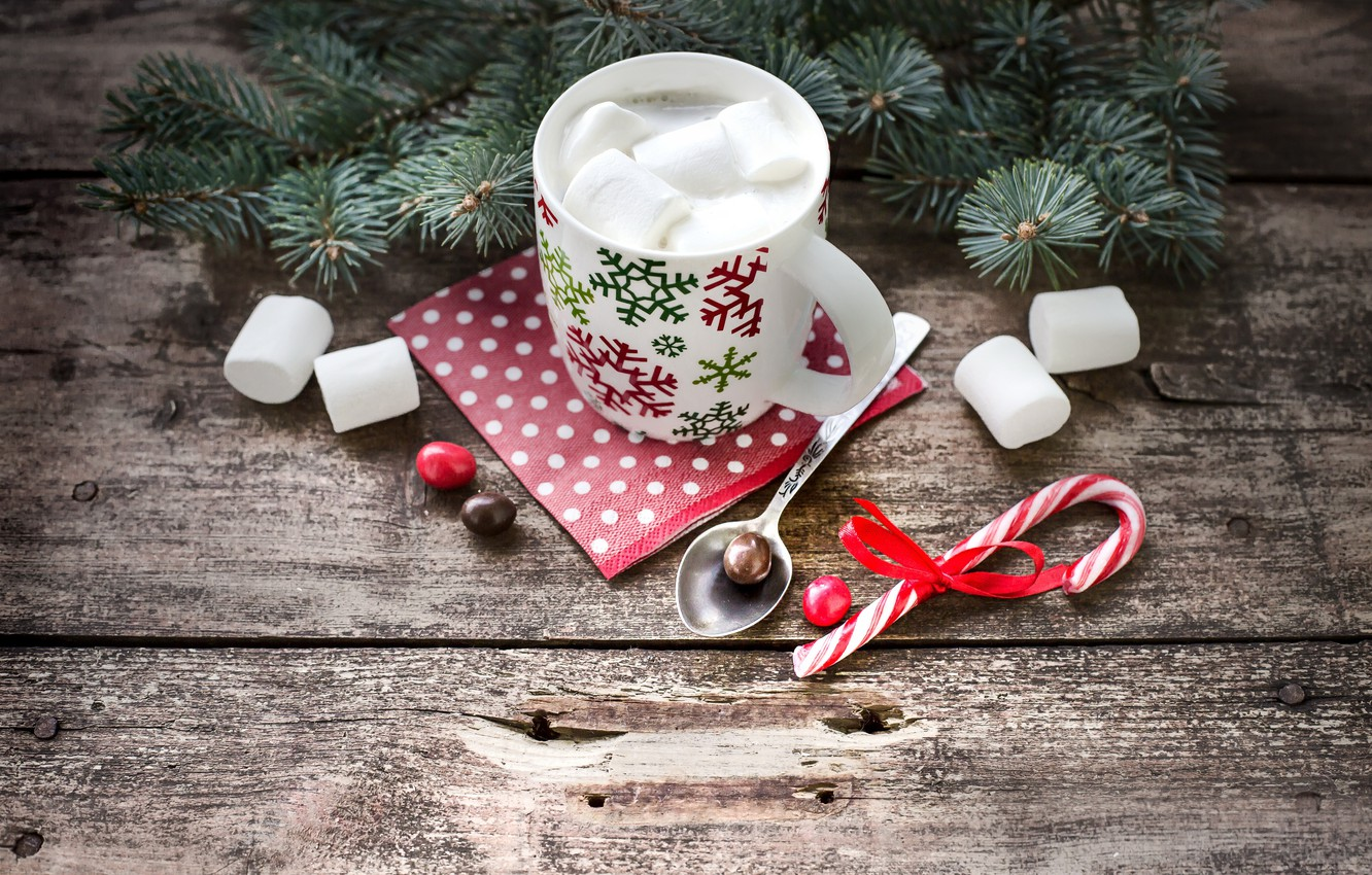 Photo wallpaper decoration, tree, New Year, Christmas, Cup, happy, Christmas, winter, cup, chocolate, New Year, Merry Christmas, …