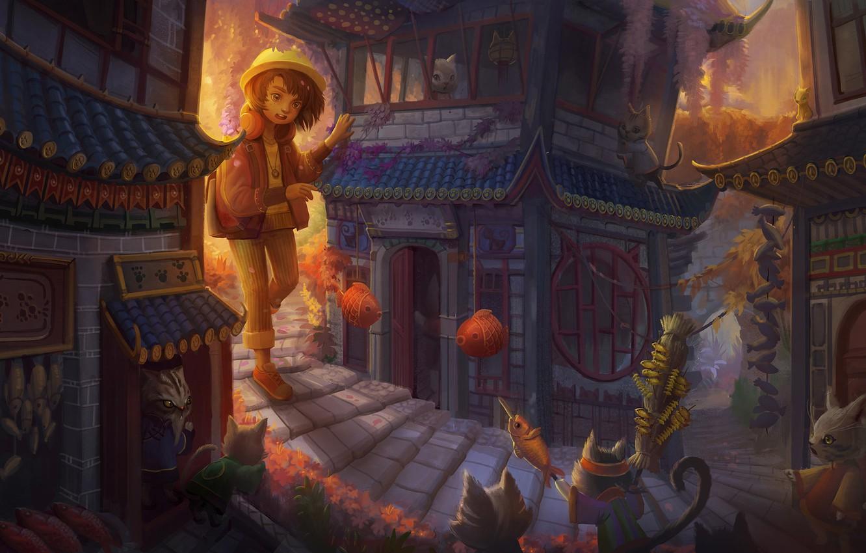 Photo wallpaper cat, cat, the city, house, anime, art, girl, children's, Yangtian Li, Cat Town, The cat …