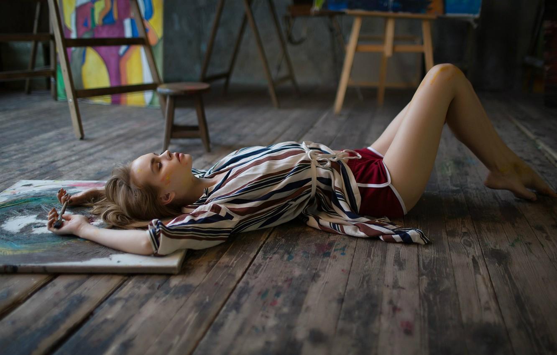 Photo wallpaper paint, shorts, creativity, brush, Anastasia Shcheglova