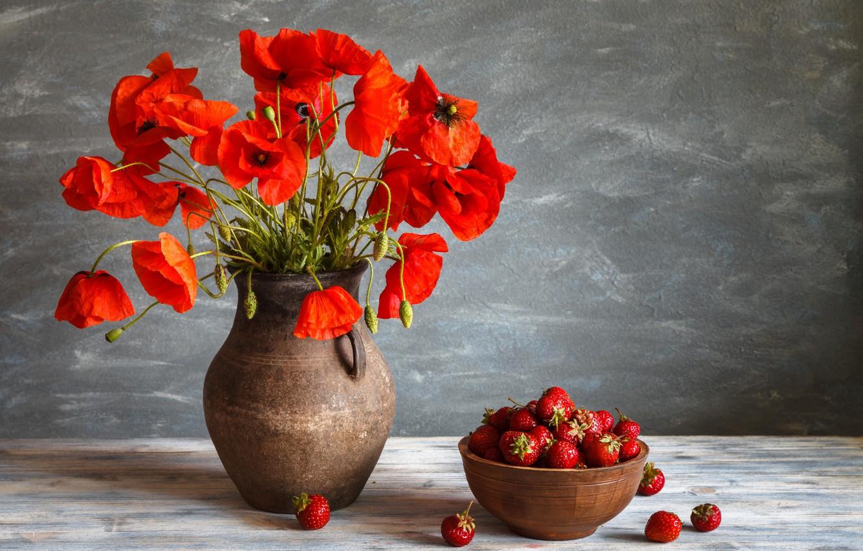 Photo wallpaper berries, Maki, strawberry, bowl, pitcher