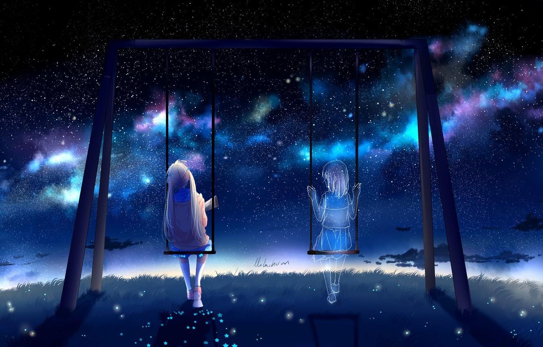 Photo wallpaper girl, night, swing, by lluluchwan