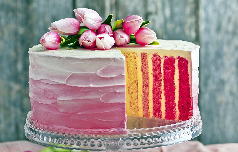 Photo wallpaper tulips, cake, decoration, cream, sweet, layered