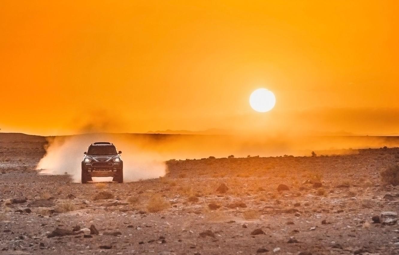 Photo wallpaper Sunset, The sun, The sky, Sand, Mini, Mountains, Dust, Sport, Desert, Speed, Race, Hills, Heat, …