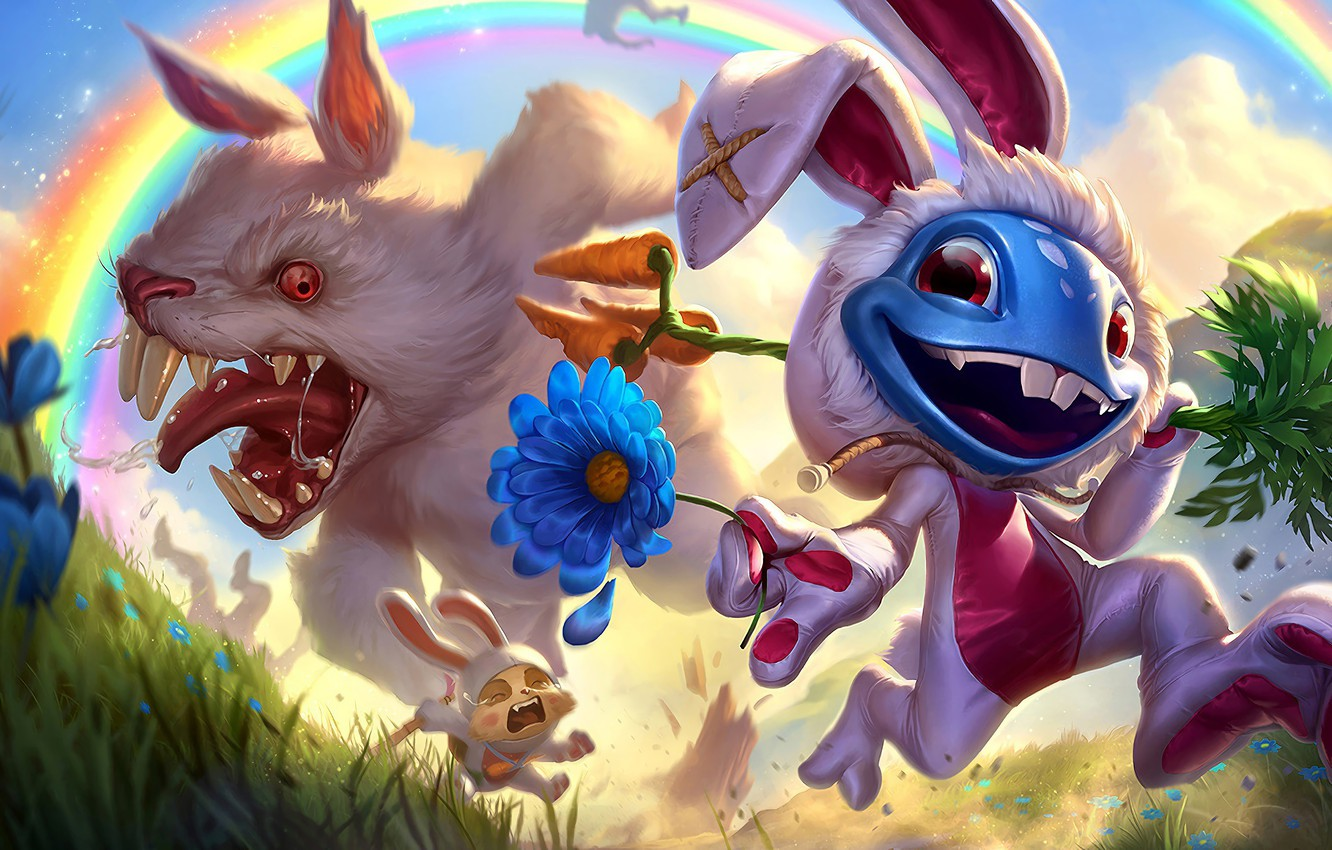 Photo wallpaper The game, Flower, Rabbit, Smile, Rainbow, Teeth, Costume, Evil, Rainbow, Flower, Mad, Smile, Game, League ...