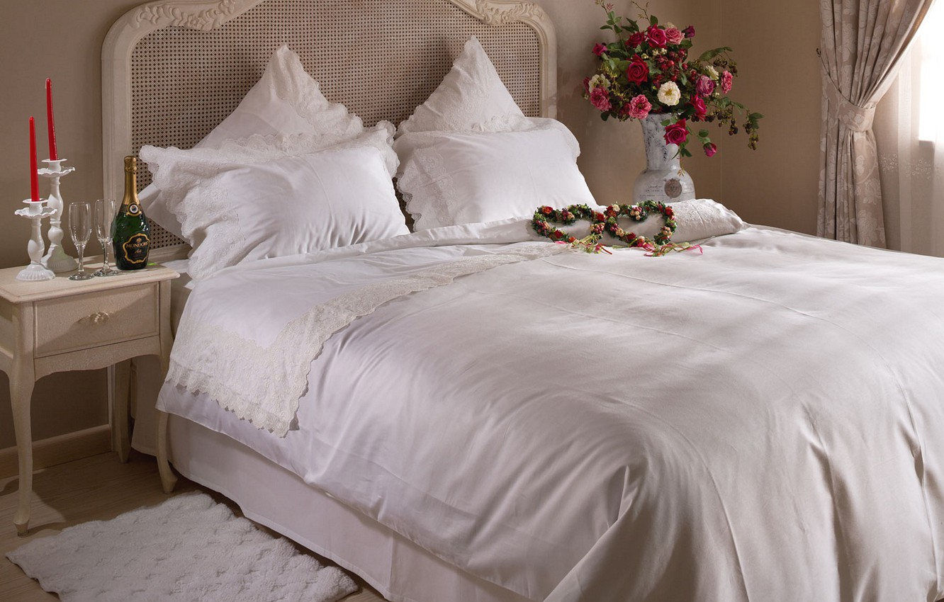 Photo wallpaper flowers, bed, heart, bed, champagne, bedroom