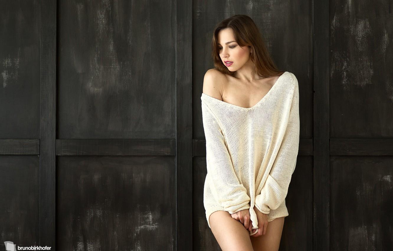Photo wallpaper look, girl, photographer, Lana, sweater, Bruno Birkhofer