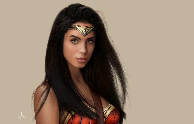 Photo wallpaper girl, Wonder Woman, green eyes, long hair, model, comics, lips, face, painting, cosplay, brunette, fan ...