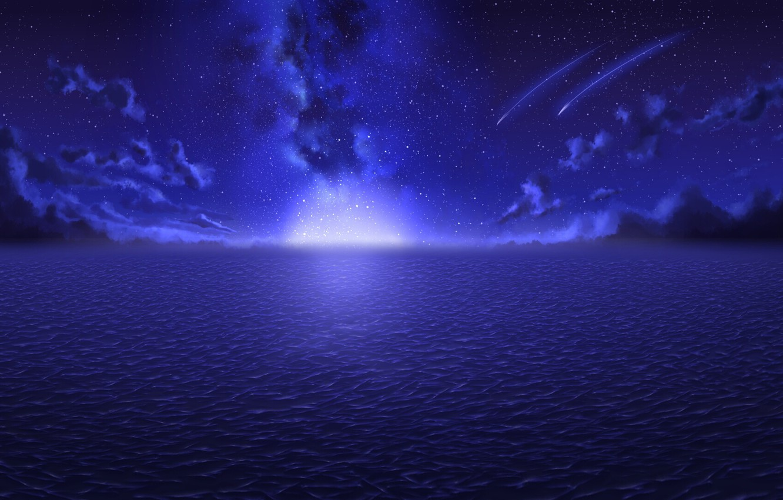 Photo wallpaper sea, clouds, night, lights, horizon, The Milky Way, starry sky, Starfall